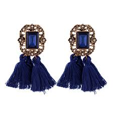 vintage earrings vintage navy tassel drop statement earrings