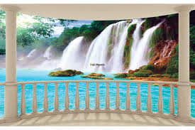 murals view of waterfall from terrace ellipse wall murals view of waterfall from terrace ellipse
