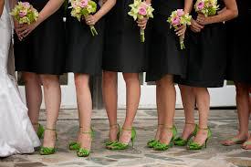 black bridesmaids dresses green shoes elizabeth anne designs