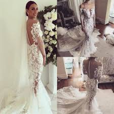 popular wedding dresses 2017 charming new arrival lace sleeves pretty fashion mermaid