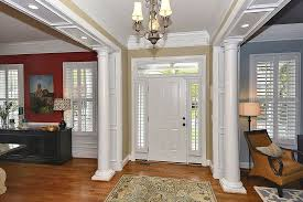 traditional entryway with chandelier u0026 crown molding in vienna va