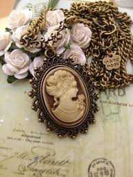 cameo necklace pendant images Vintage cameo oval old antique bronze pendant necklace i love jpg