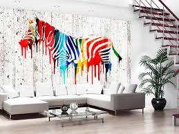 photo wallpaper wall murals non woven coloured zebra wild zoom