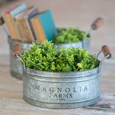 metal gathering pans set of 2 by magnolia home eco chic boutique