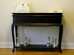 Entry Way Table by Furniture Black Wooden Console Table With Drawer And Open Shelf