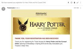 ticketmaster verified fan harry potter ticketmaster on twitter if you have not received a confirmation