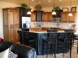 Alder Cabinets Beautiful Black Kitchen Island With Bar Seating - Kitchen island with cabinets and seating
