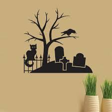 spooky graveyard scene halloween decals holiday wall decals