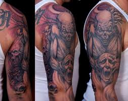 men upper sleeve cover up with realistic big clown tattoo design