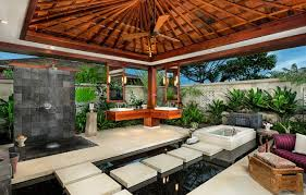 outdoor bathrooms ideas spacious tropical bathrooms with floating teak vanity and white