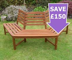 henley half tree seat hardwood garden bench 1 2 price sale