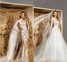 2015 zuhair murad wedding dresses sheer lace top detachableskirt