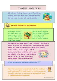 29 free esl tongue twisters worksheets