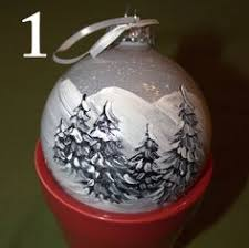 frosted glass ornament painted and signed by