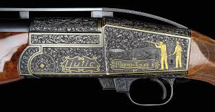 gold inlay engraving ljutic mono gun with exceptional relief engraving and gold inlay
