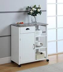kitchen storage cabinet cart brand white finish wood marble vinyl top kitchen storage cabinet cart