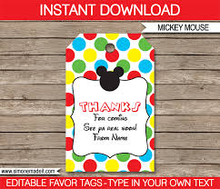 party favor labels mickey mouse party favor tags thank you tags birthday party