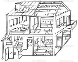 Interior House Drawing And White Image Of House Interior Clipart