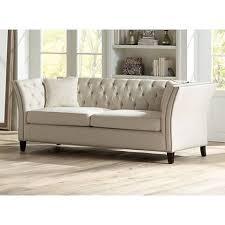 Beige Tufted Sofa by Brianna Tufted Beige Linen 88 1 2
