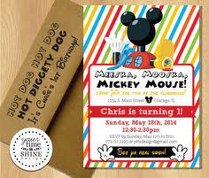 mickey mouse inspired birthday invitations by peachypieparties