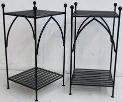 Wrought Iron Patio Side Table Side Table 2 X Wrought Iron Bed Company Black Handmade Gothic