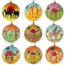 xmas hanging ornaments camel desert decorations paper mache balls