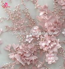Wedding Dress Material 2017 Handwork Pink Lace Fabric For Party Dress 3d Wedding Dress
