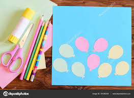 creating a paper card with balloons step tutorial for children