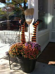 crashed witch leg planter for halloween holidays pinterest