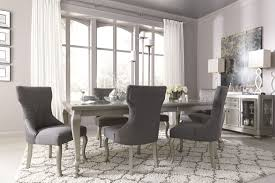 silver rectangular extendable dining room set