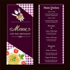 restaurant menu design with classical violet background vector