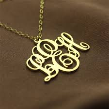 monogram initials necklace fancy monogram necklace gift 18k gold plated