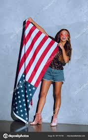 Holding The Flag Cheerful African American Woman Holding American Flag Hands