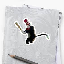Bat Meme - cat in the hat baseball bat meme stickers by ben wut redbubble