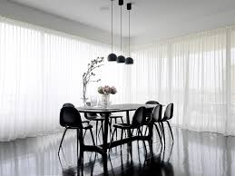 Black And White Thermal Curtains Ripplefold Sheers Dining Room Contemporary With Pendant Lighting