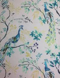 hm120 peacock blue bird watercolor painting upholstery home decor
