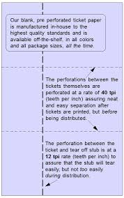 raffle ticket printing paper perforating