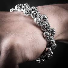 mens bracelet with skull images 925 sterling silver multi skull mens bracelet jpg
