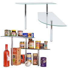 kitchen glass corner shelves shelf free standing chrome tempered