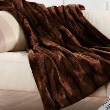 Faux Fur King Size Blanket Faux Fur Heated Throw Walnut