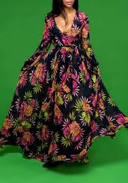 multicolor floral print draped deep v neck chiffon boho bohemian