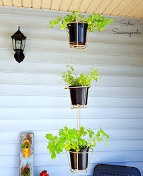 how to repurpose thrifted lampshades into hanging herb baskets
