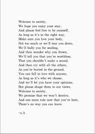 welcome to society words poem erin hanson and what s