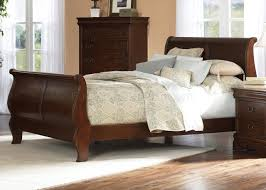 cherry finish traditional sleigh bed w optional case goods