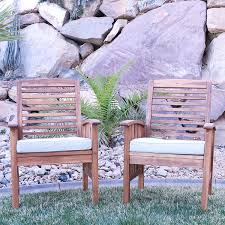 Patio Chair Cushions Set Of 4 by Amazon Com Walker Edison Solid Acacia Wood 4 Piece Patio Chat