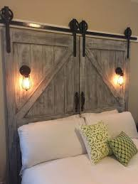 cheaper and better diy barn door headboard and faux barn door