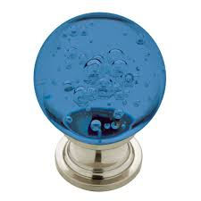 colored glass cabinet knobs liberty 1 60 in satin nickel with blue bubble glass cabinet knob