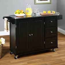 clear varnished hickory hardwood island cart with steel wheels and
