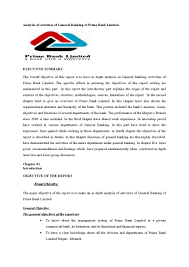 Authorization Letter Check Encashment analysis of activities of general banking of prime bank limited by