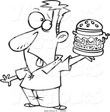 milk coloring pages vector of a cartoon man holding a reject burger black and white